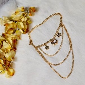 Jewelry - 5/$25 Gold Multichain Anklet w/Flower Charms